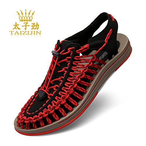 Xing Lin Flip Flop De La Playa Verano Nuevo Sandalias De Playa De Verano De Calzado Masculino Calzado Casual Baotou Tendencia Tejer Sandalias Macho Black and red