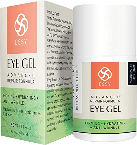 EssyNaturals Gel for Dark Circles Puffiness Wrinkles and Bags Fine Lines the Most Effective Anti-Aging Eye Gel Under and around Eyes