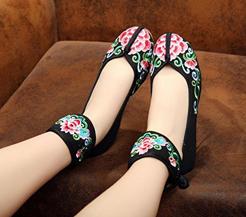 GuiXinWeiHeng xiuhuaxie Zapatos bordados, lino, lenguado del tend¨®n, estilo ¨¦tnico, zapatos femeninos aumentados, manera, c¨®modo, ocasional black