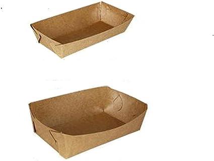 10 pcs DIY papel Kraft papel desechable bandeja de alimentos peces chips Caliente Perros de maíz frito pollo bandeja de cartón de embalaje para fiestas Picnic: Amazon.es: Oficina y papelería