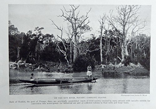 Kiti River, Ponape, 1921 print art, (Caroline Islands) Rare 1921 National Geographic Magazine Art