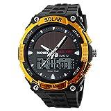 Skmei Solar Time Gold Dial Analogue Digital Mens Wrist Watch,AD1049
