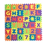 Teeny Toyz, Large Foam Puzzle Play Mat, 36 Tiles, Entire Alphabet + Numbers 0-9! Pop-Out Numbers/Letters on Every Tile, Inter-Locking Pieces, with Zippered Carry Bag