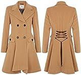 De La Creme - Women's Wool & Cashmere Winter Double Breasted Coat, Camel, Size 8