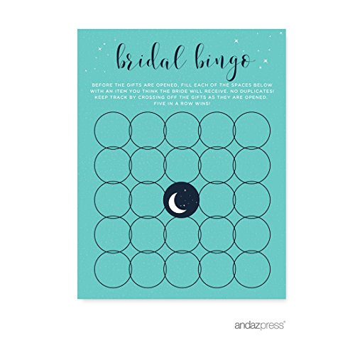 Andaz Press Love You to the Moon and Back Wedding Collection, Bridal Shower Bingo Game Cards, 20-Pack ()