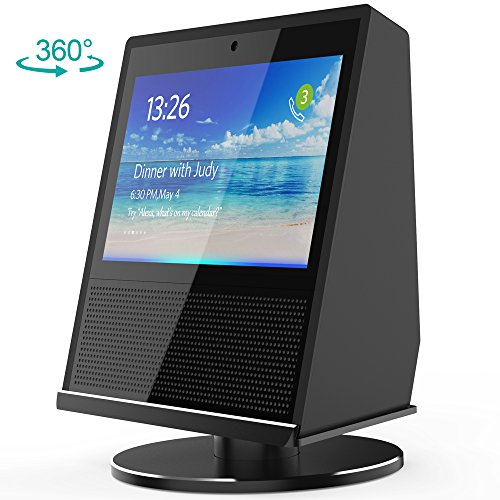 Echo Show Stand, HoRiMe Aluminium Stand for Amazon Echo Show Rotated Left Right Shining Metal Base with Double Bearings for Alexa Echo Show, Echo Show Accessories Protector, No Need Assembly - Black