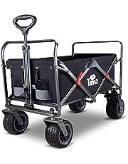 TMZ Foldable Hand Cart, All-Terrain Folding Trolley Cart, Garden Trolley Cart with Patented Folding Technology & 360° Rotating Wheels, Beach Wagon, Maximum Load-Bearing120kg(Black/Gray)