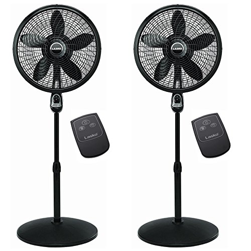Lasko 18 Inch Oscillating Cyclone Pedestal Stand Fan w/ Remote Control (2 Pack) ()