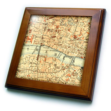 3dRose ft_112939_1 Vintage Map of London UK Section with Thames River-Retro Cream Brown Orange-Geography Travel-Framed Tile, 8 by 8-Inch