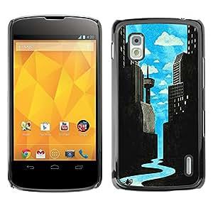 For LG Google NEXUS 4 / Mako / E960 Case , Sci-Fi City River Art Deco Freedom - Diseño Patrón Teléfono Caso Cubierta Case Bumper Duro Protección Case Cover Funda