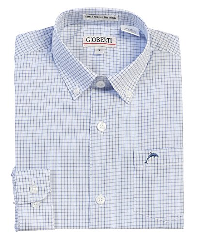 Stripe Shirt Dress (Gioberti Boy's Long Sleeve Pinstripe Dress Shirt, White / Blue, Size 10)