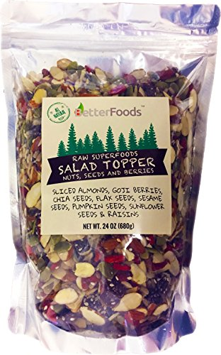 Raw Superfoods Salad Toppings Mix (Organic Goji Berries, Raisins, Almonds, Chia, Flax, Pumpkin, Sesame and Sunflower Seeds) 24 oz