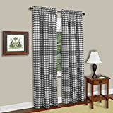 Cheap Zen Creative Designs Gingham/Checkered 100% Polyester Curtain Window Treatment/Decor Panel-Black and White (2, 56″x120″)