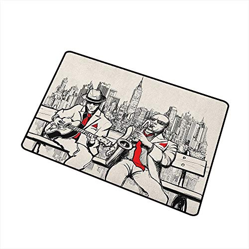 Wang Hai Chuan Music Front Door mat Carpet Jazz Men Band Playing Beats in New York at Night Retro Style Illustration Print Machine Washable Door mat W15.7 x L23.6 Inch Red Black Ecru