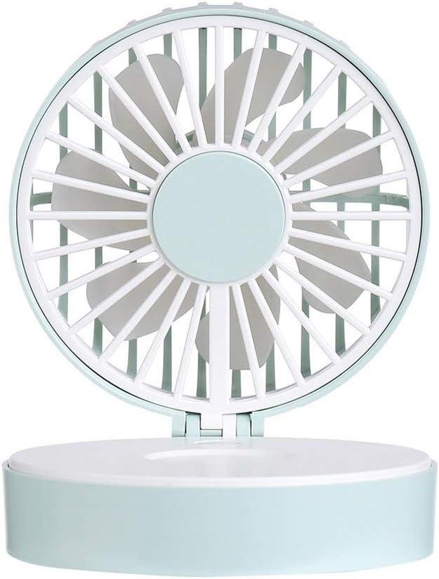 HAIMEI-WU Girl Handheld Fan Fashion Versatility Makeup Mirror Fan Pack USB Charging Mini Sweet Style Desktop Fan Mini Electric Fan Color : Green