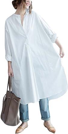 Ninmon Shares Women O-Neck Long Sleeve Button Down Hem Cut Out T-Shirts Dresses Plus Size