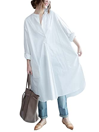 45ec89d1f6b2 Ninmon Shares Women O-Neck Long Sleeve Button Down Hem Cut Out T-Shirts