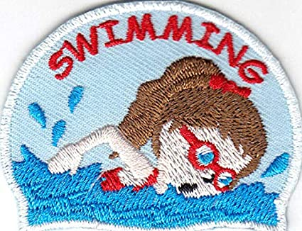 "Sports /""SWIMMING/"" w//SWIMMER//Iron On Embroidered Patch//Swimming Swimmer Words"