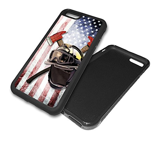 Firefighter Fire Helmet (Inked Cases Firefighter Helmet with Axes and U.S. Flag -Black IPhone 6 - Rubber)