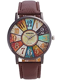 Womens Quartz Watches Retro Pattern Digital Dial Wrist Watch Teen Girls Fashion Leather Band Watch Unique Dress Wristwatch Casual Elegant Watches COOKI Women Watches On Sale Clearance Prime (Brown)