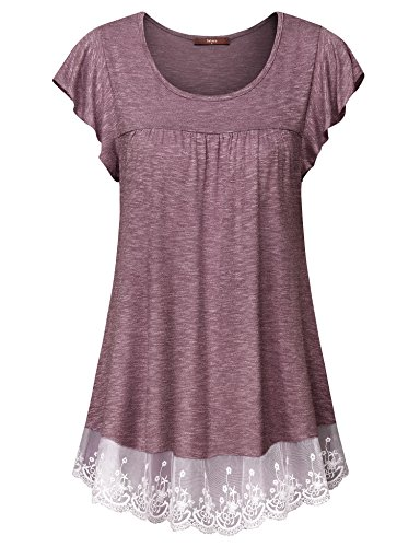 Gaharu Tunic Shirts for Women, Loose Fitting Ruffle Sleeve Tee and Tops Lightweight Casual Summer Hollow Out Lace Blouse Outfits Wine,Large