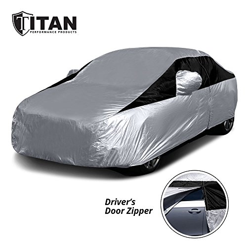 Titan Lightweight Car Cover | Compact Sedan | Fits Toyota Corolla, Nissan Sentra, and More | Waterproof Car Cover Measures 185 Inches, Includes a Cable and Lock, and Features a Driver-Side Door Zipper ()