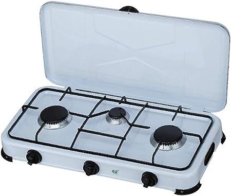 tosend Software Hornillo de Gas esmaltado con Tapa 3 Fuegos