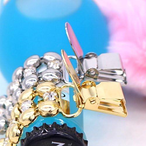 Dor/é et argent (cristal) keland /Épingle /à Nourrice de Cristal Strass Charme Broche de S/écurit/é en Faux Perle pour Femmes Lot de 2
