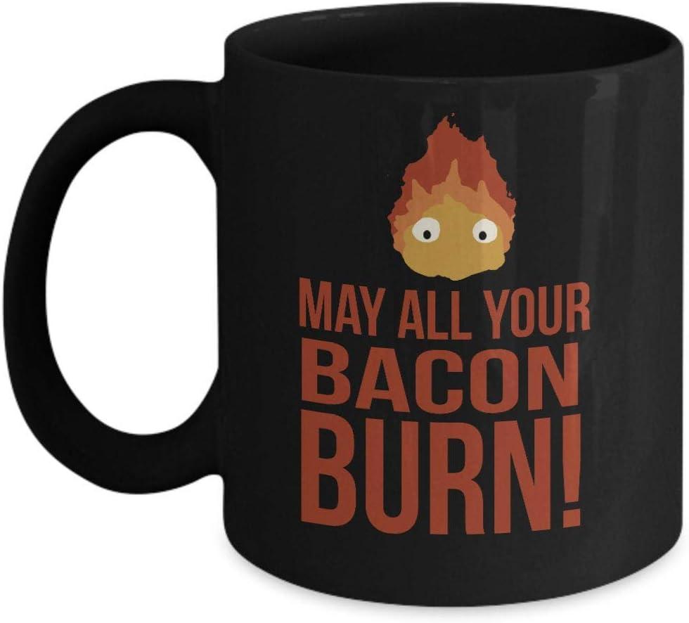 May all your bacon burn! Calcifer mug 11 oz cute black coffee mug gift