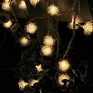 "Led String Lights Roses Small Lanternsfor Girls Bedroom Party Garden Christmas Tree Festival Home Wedding Birthday Indoor Outdoor Xmas Decoration Light,Color-Rose-5.4-meter lamp ""battery light"