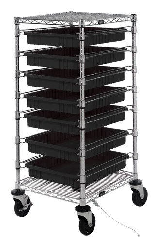 Quantum-Storage-Systems-BC212439M2CO-ESD-Safe-Mobile-Tote-Cart-with-Seven-Conductive-Totes-Cart-Size-21-x-24-x-45
