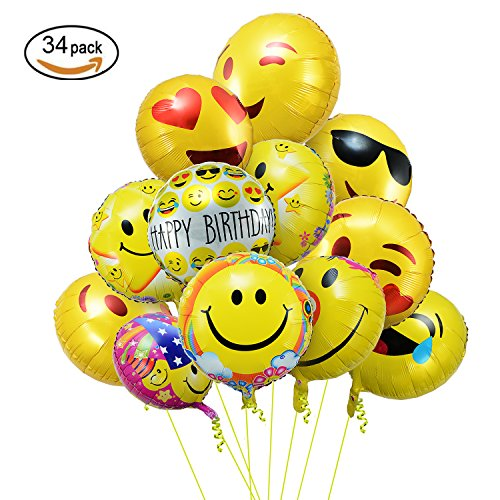 Amazon Party Balloons Emoji BalloonsTakefuns 18 Emoticon Foil Helium For Birthday Weddings Anniversary Decorations Mixed Pack Of 34