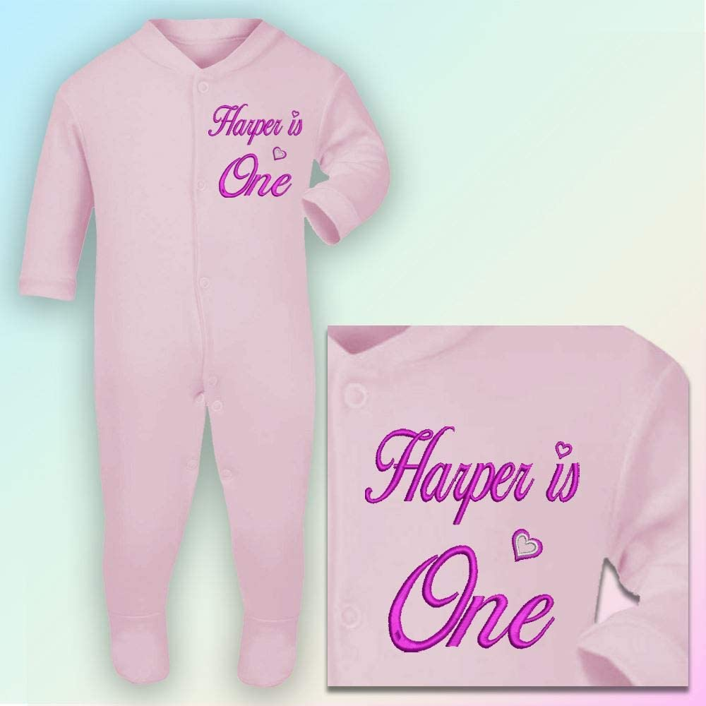Personalised One 1st Birthday Embroidered 3-6 Months Sleepsuit in White Lavender Thread
