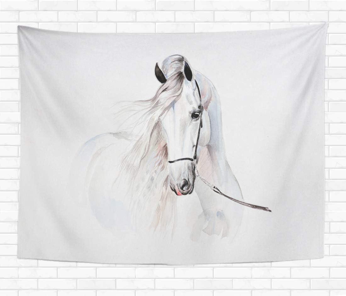 N\A Home Tapiz Decorativo para Colgar en la Pared Semental Pintura de Acuarela de Caballo Andaluz Retrato Hermosos tapices Blancos Manta de Pared para Dormitorio Sala de Estar Dormitorio