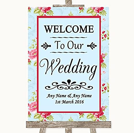Amazon.com: Shabby Chic Floral Bienvenido a nuestra boda ...
