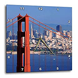 3dRose Danita Delimont - San Francisco - USA, California, San Francisco. Golden Gate Bridge and City. - 13x13 Wall Clock (DPP_314649_2)