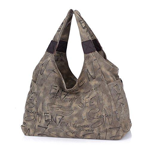 BYD - Mujeres Man Unisex Large School Bag Bolsos totes Shopping Bag Canvas Bag Color puro Carteras de mano Bolsos bandolera Marrón