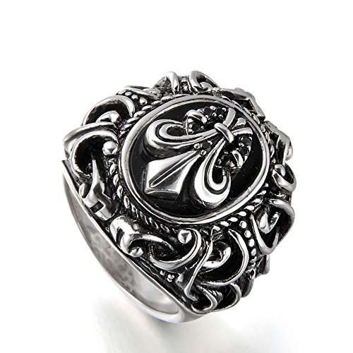 Silver Sport Ring (Morsca Sterling Silver Natural Black Onyx Mens Ring with Vintage Knight Fleur De Lis Pattern, Sizes 7-14)