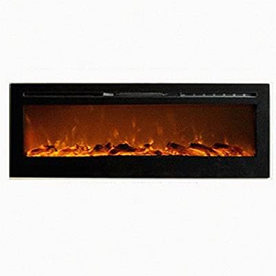 MCM3 72'' Wall Mounted/Build-in Electric/Smokeless Fireplace,Black,W72''XD5.5''XH21.5'',Fuel:Pebbles, Overheat Protection Device