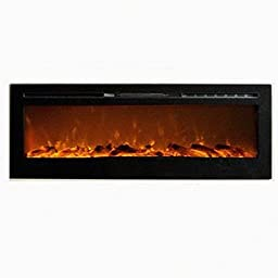 MCM3 50\'\' Wall Mounted/Build-in Electric/Smokeless Fireplace,Black,W50\'\'XD5.5\'\'XH21.5\'\',Fuel Crystal,Overheat Protection Device