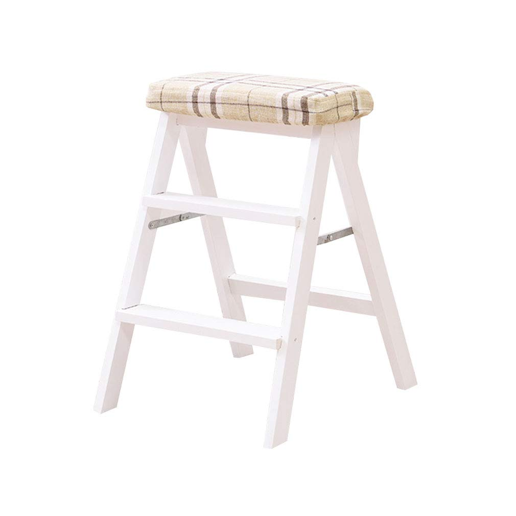 2 Multi-Function 3 Step Ladder Stool Solid Wood Folding with Cushion High Foot Stool Bar Stool Flower Rack Shelves (color    3)