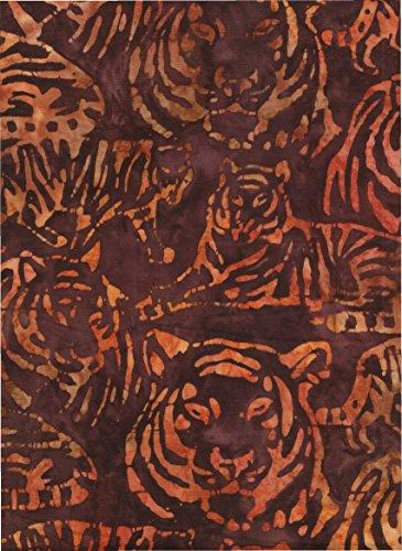 Kaufman Bali Batik (Robert Kaufman Wild Tiger Batik ~ HALF YARD!! ~ Java Block Printed (Tjap Stamped) Kalahari 6 - Tiger Print Bali Tie Dye (Ikat) Batik ~ Quilt 100% Cotton 44