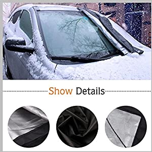 "Car Windshield Snow Cover, Ubegood Windshield Snow and Ice Cover Extra Large Waterproof Frost Rain Resistant Outdoor Car Protection Covers - Fits for Most Vehicles (85"" x 49"")"