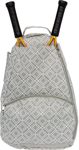 LISH Tennis Racket Backpack – Women's Geometric Diamond Print Tennis Racquet Holder Bag (Grey)