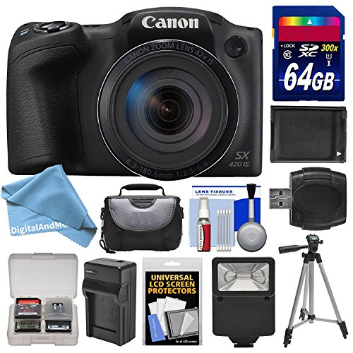 Canon PowerShot SX420 IS Wi-Fi Digital Camera (Black) with 64GB Card + Case + Flash + Battery + Charger + Tripod + DigitalAndMore Deluxe Accessory Kit for SX420