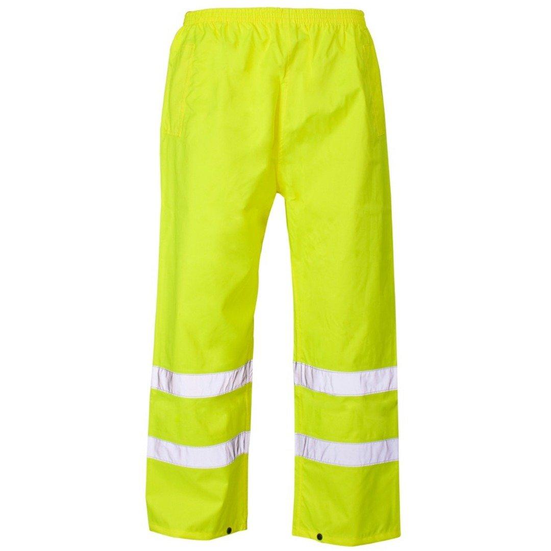 Myshoestore®, pantaloni da lavoro impermeabili ad alta visibilità con 2bande in nastro riflettente PU di sicurezza e banda elastica in vita, taglie dalla S alla XXXL Hi Vis Trouser