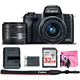 Canon EOS M50 Mirrorless 4K Digital Camera Body Wi-Fi Enabled ESSENTIAL Kit with EF-M 15-45mm 3.5-6.3 IS STM & Camera Works Deluxe Accessory Kit
