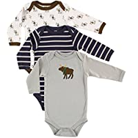 Hudson Baby Unisex 3 Pack Long Sleeve Bodysuits, Moose, 6-9 Months