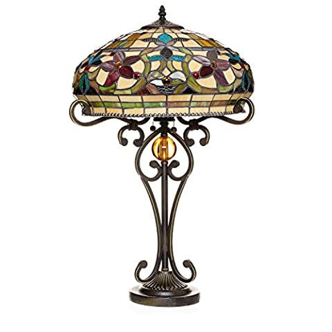 Serena d'italia Ornate Floral Tiffany Style Two Light Table Lamp - Mission Double Shade Table Lamp