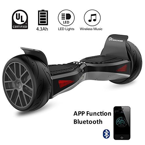 "EverCross Shadow Hoverboard Electric Self Balancing Scooter – LG Battery All-Terrain 8.5"" Alloy Wheel, Bluetooth&App 3Speed Modes 400W Dual-Motor, UL2272 Certified, Off-Road Hoverboard (Black)"